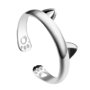 Trendy Animal Rings For Women Charms Dragon Cat Ear Paw Rings Footprint Silver Open Adjustable Ring Party Gift Drop Shipping