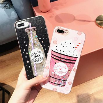 Lizardhill Glitter Dynamic Liquid Cartoon Unicorn Back Cover For iphone 6 Case For iphone 6S 7 7Plus Phone Case Drink Strawberry