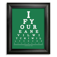 Adventure Time, If You're An Evil Witch I Will Punch On Your Buns Eye Chart, 8 x 10 Giclee Print BUY 2 GET 1 FREE