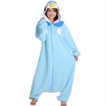Cartoon Anime Blue Penguin Piplup Cosplay Hooded Pajamas Hoodie Adult Women Unisex Fleece Onesuits Party Costume Halloween
