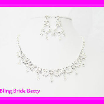 Princess Style Bridal Necklace Earring Set