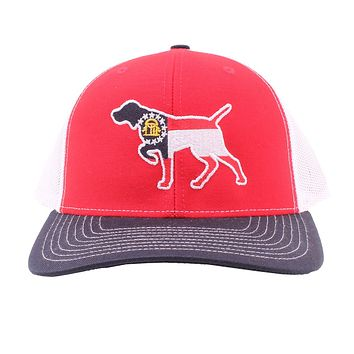 Georgia Flag Pointer Trucker Hat in Red, White, and Blue by Southern Snap Co.