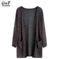 Dotfashion Autumn Cardigan Fashion Women Casual Women Cardigan Fall Womans Clothes European Fashion Dark Grey Fuzzy Cardigan