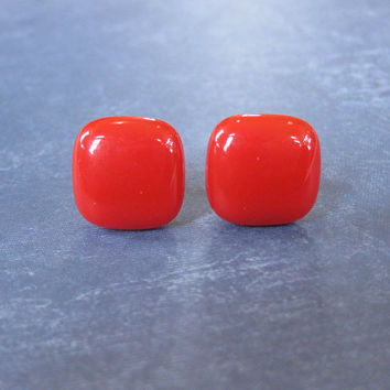 Red Earrings, Post Earings, Hypoallergenic, Fused Glass Jewelry, Red Jewelry - TwoMot Toe - 1726 -3
