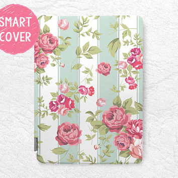 Mint Striped Rose Floral pattern Smart Cover for iPad Mini, iPad mini 2 retina, iPad Air, iPad Air 2, flower Smart cover with back case -P26