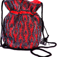 Red Beaded Pouch Style Purse