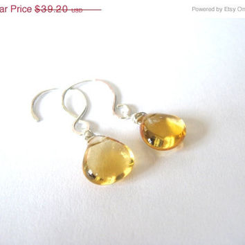 SALE Beautiful High Quality Citrine and Sterling Silver Earrings November Birthday