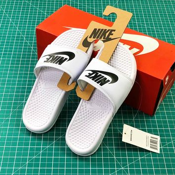 Nike Benassi Duo Ultra Slid White Black Sandals - Best Online Sale