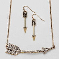 Arrow Necklace Burnished Gold Set