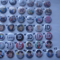 43 1D one direction party favors pin on buttons group of 43 badges hair bow centers