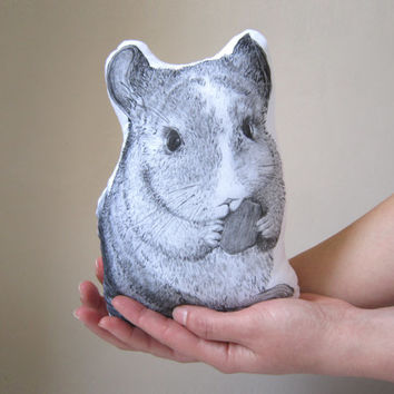soft toy animal totem chinchilla hand painted mini pillow pet plush white cotton cottage chic decoration gift idea