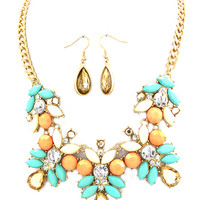 Statement Necklace- Mint/Peach