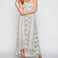 Billabong Designer's Closet Honey Sky Hi Low Maxi Dress Ivory  In Sizes