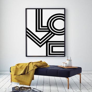 LOVE Wall Art Minimalist Print Geometric Love Poster Modern Canvas Art Painting Wall Pictures For Bedroom Decor No Frame
