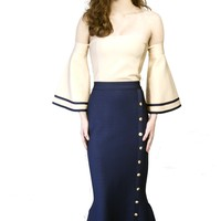 Queen Bee Calypso Dress Navy Ivory Bell Sleeve fluted hem