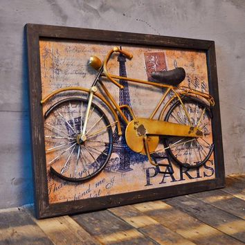 American retro style bike mural Wall Industrial three-dimensional decorative painting decorative pendant Cafe Bar