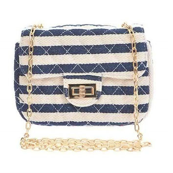Striped Quilted Clutch