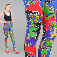 DEADSTOCK 80s 90s Leggings Colorful Stretch Pants Artsy Print Tights High Waisted Cotton Lycra Leggings XS S