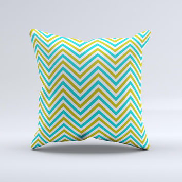 Gold & Blue Sharp Chevron Pattern Ink-Fuzed Decorative Throw Pillow