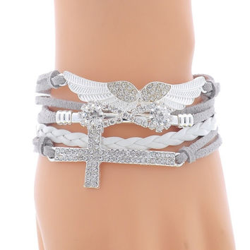 1PC New DIY Vogue Jewelry Leather Cross Angel's Wing Rhinestone Charm Bracelet (With Thanksgiving&Christmas Gift Box)= 1932790724