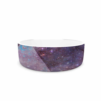 "Suzanne Carter ""Geometric stars"" Purple Black Pet Bowl"