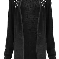 Maria Studded Knit Cardigan in Black