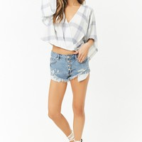 Distressed Button-Fly Low-Rise Denim Shorts
