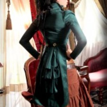50% OFF! Emerald green open bust tailcoat.