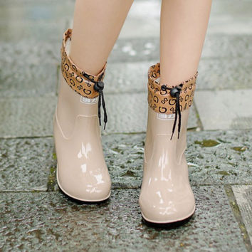 2016 Winter Warm Rain Boots With Cotton Padded Ladies Rubber Leather Pvc Ankle Women Boots Flats Shoes Woman Rainboots