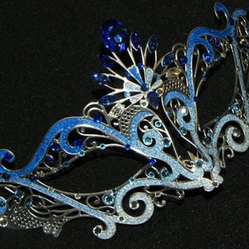 Blue Ombre Made to Order Metallic Masquerade Mask