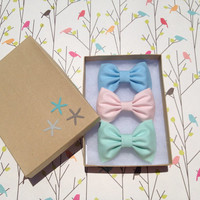 Pastel green and blue with barely pink bows by theSeasideSparrow