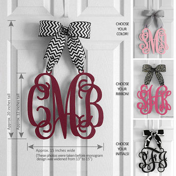 Personalized Monogram Door Hanger - Mother's Day Gifts - Hanging Monogram Initials - Door Sign - Wall Decor- Free Monogram Previews