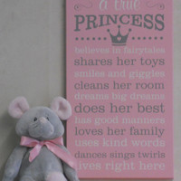 Pink Nursery, Pink Princess Wall Decor, Pink Typography Sign with Princess Crown, Playroom Decor, Pink Nursery Art, Pink Wall Decor Gifts