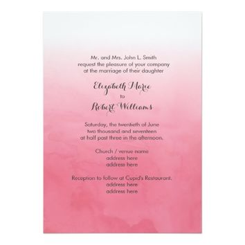 Pink Ombre Watercolor 5x7 Paper Invitation Card
