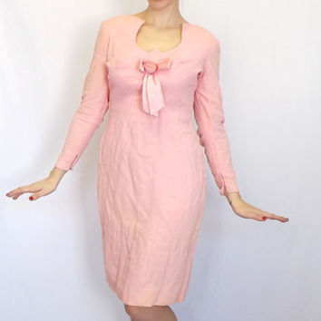 Vintage1960s Pale Pink Figure Hugging Wiggle Dress Medium Large Mad Men Jackie O Mod Cocktail Gown Twiggy Easter Prom Avant Garde Wedding