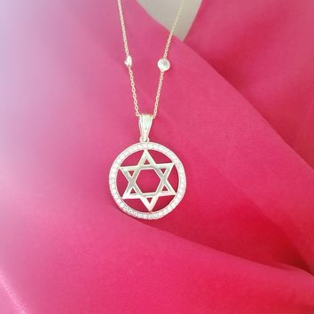 Gold White Zircon Star of David Necklace 925 Sterling Silver