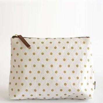 Metallic Gold Dots Pouch