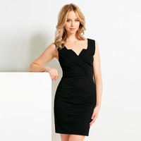 Casual Black Zipper Back Mini Dress