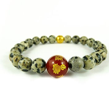 Buddha Lotus Bracelet, Red and Gold Bracelet, Kannon Guan Yin Wrist Mala Japanese Bracelet, Natural Stone Gem Beaded Bracelet Chinese Mantra