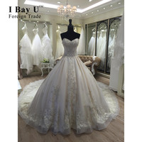 I Bay U Cathedral Train Real Photo Full Beaded Sexy Lace Ball Gown Wedding Dress Vestidos De Novia 2016 With Detachable Shoulder