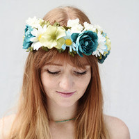 Turquoise Green and White Flower Crown - Daisy Headband, Turquoise Flower Crown, Daisy Crown, Bridal Flower Crown, Bridal Headpiece, Daisies