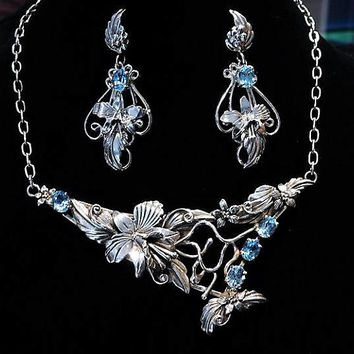 Designer Couture Southwest Jewelry Set / Chaco Canyon / Necklace Earrings / Blue Topaz / Navajo Orchid / Sterling Silver / Loretta Smith