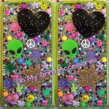 Phone Case -- iPhone 6 Plus -- Intergalactic Kawaii Springtime in Green