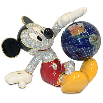 Disney Mickey Mouse with Globe Jeweled Figurine by Arribas New LE 1000