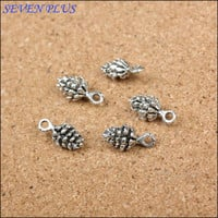 High quality 25 PCS/Lot 14mm*7mm antique silver pine cone charm diy jewelry making charms