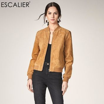 ESCALIEA Fashion Women's Pigskin Jacket Baseball Leather Jacket Locomotive Style Casual Genuine Leather Coat