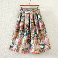 Vintage Floral Print Pleated Midi Skirt