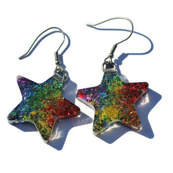 Rainbow Star Earrings Colorful Confetti Glitter Earrings Dangle Earrings Stainless Steel Star Earrings Holographic Pride Jewelry