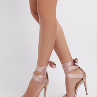 Satin & Grosgrain Ankle Wrap Sandals