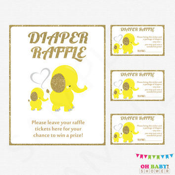 Yellow and Gold Elephant Baby Shower Diaper Raffle Tickets, Diaper Raffle Sign, Gender Neutral Baby Shower, Printable Baby Raffle EL0004-YG